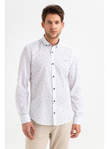 Avva Erkek  Seersucker Baskılı Düğmeli Gömlek A01S2212 Beyaz